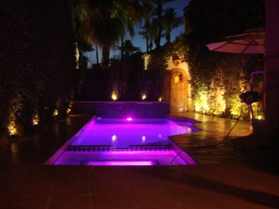 Gorgeous pool lighting at night