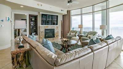 """Photo for Gorgeous, immaculate, luxurious! See reviews! Gulf front, 75""""TV, hot tub on deck"""