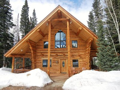 Photo for NEW ABSOLUTE TRANQUILITY!  Log cabin, professionally decorated, stunning view