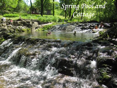 Clearspring Cottage creekside with waterfalls in Arkansas