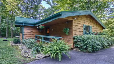 Photo for PRIVATE MOUNTAIN COUPLES GETAWAY. 16 MI TO ASHEVILLE. CREEK, HOT TUB, FIREPLACE