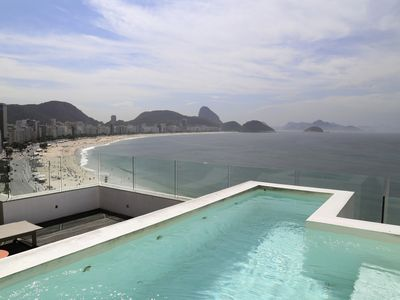 Photo for Rio067-3 bedroom penthouse beachfront in Copacabana