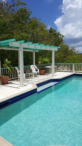 Another pool photo-note in-pool shelf perfect for reading, sipping a drink