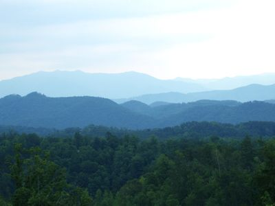 Actual view of Great Smokey Mountains from every room in this luxury log home