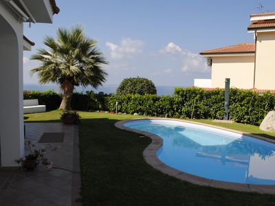 Photo for Villa with private pool, sea view terrace, village and beach nearby