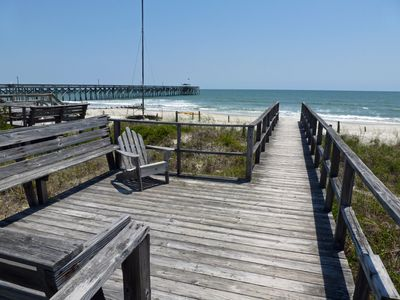 Photo for Oceanfront, ground level beach duplex, boardwalk, screened porch, dog friendly