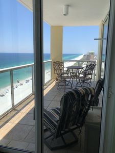 From the king bedroom, clear sight lines all the way to Pensacola; white beaches