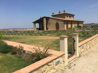 Photo for Fantastic semi-detached villa with panoramic terrace and pool close to Volterra