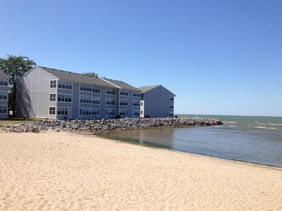 Lakefront Condo with private sandy beach!
