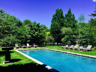 The 50' heated saltwater pool and rambling gardens on gorgeous park-like estate!