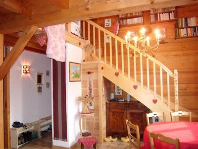 Photo for 1/2 Savoyard chalet in wood, 8 people, warm atmosphere, close to the slopes