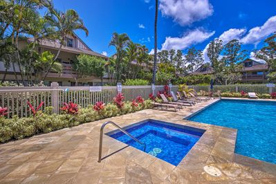 Soak up the sun by the community pool of this Princeville vacation rental condo!