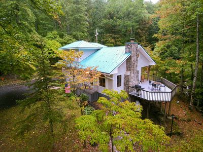 Photo for Secluded mountain home on 2 acres w/ fireplace, deck & firepit