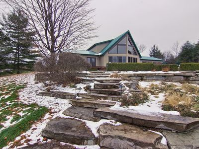 Photo for Hilltop Lodge- snowmobile and pet friendly, private country setting