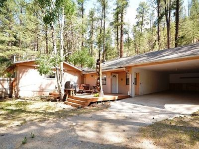 Photo for Modern Cabin w/ WiFi, Fireplace, Jacuzzi, Grill & Outdoor Hot Tub
