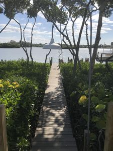 gated wooden path to dock through mangroves