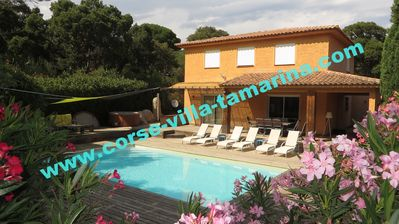 Photo for Villa 10 people jaccuzi & heated pool at 900 m beautiful. beach, quiet garden