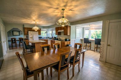 Large open floor plan around kitchen and dining area