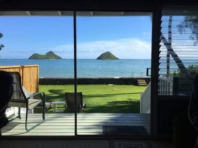 Photo for Awesome Ocean Front Beach House Directly Facing Mokes: Honu Hale Lanikai