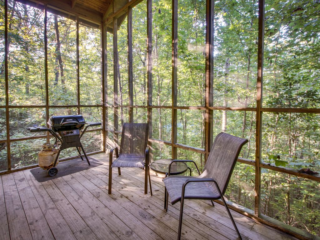 Secluded Dog Friendly Cabin Screened In Deck W Hot Tub
