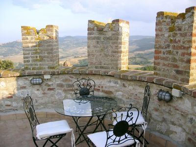 Castle patio, view towards Montepulciano