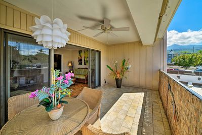 Enjoy quaint dinners in your lovely lanai at this vacation rental condo.