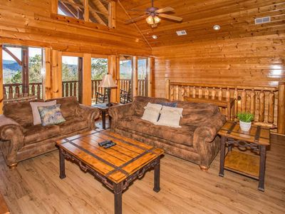 Photo for Mountain view cabin w/ private hot tub, fireplace, game room, & firepit!