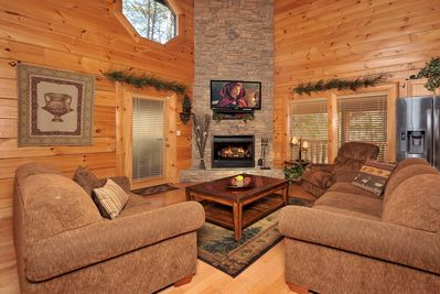 """Beautifully decorated Living Room, Stone Stacked electric fireplace, 52"""" HDVT"""