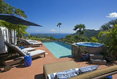 View from the pool and spa patio at Mystic Ridge Villa - overlooking Coral Bay
