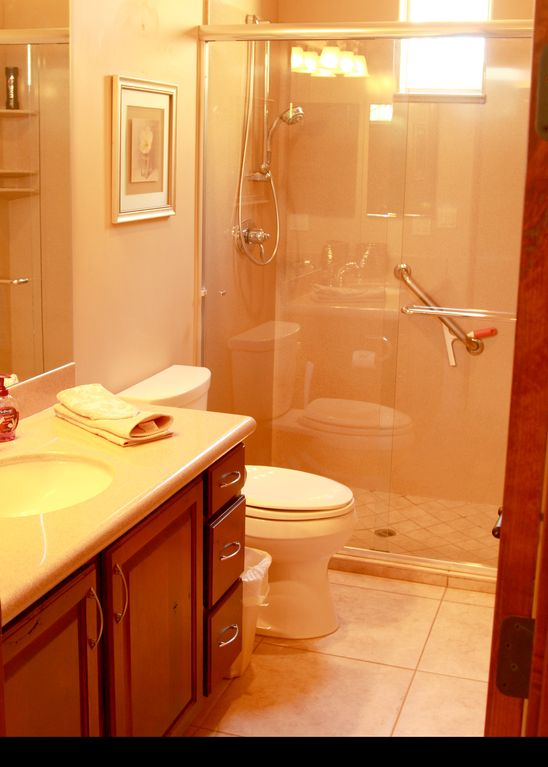 Full Bath With Glass Enclosed Shower