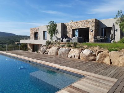 Photo for Archi new villa 200 m2, 10 people, sea view, heated pool and beach on foot