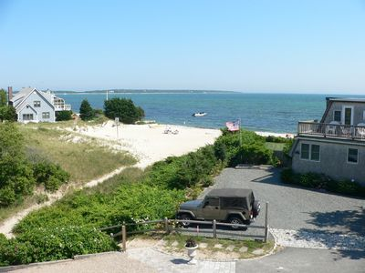 View of Hyannis Harbor and Driveway Steps Down Sandy Path to Private Beach