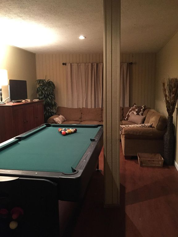 New Game Room In Basement Has Multi Use Table With Pool, Airhockey And Ping  Pong