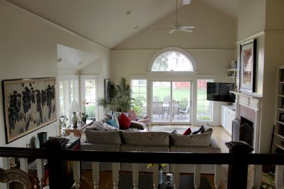 View down into family room from dining room/kitchen area.
