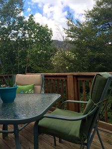 Mountain SIde view from the upper deck! There are two private decks to enjoy
