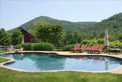 45ft  private pool overlooking Thoroughfare Mountain.