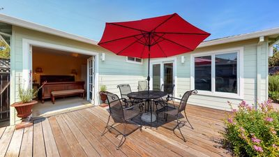 Garden deck, with electric BBQ