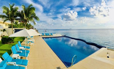 Our infinity pool hangs on the sea with views that will take your breath away!