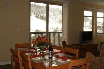 Dining room with slope views like no other units
