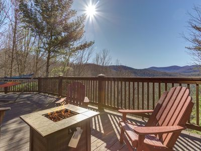 Photo for Mountain view cabin w/ private hot tub, game room, & firepit - dogs OK!