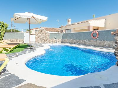 Photo for Air-Conditioned Home Close to the Beach with Pool, Terrace, Garden & Wi-Fi; Parking Available