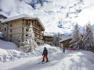 Photo for Val d'Isere  2 bedroom stylish apartment, ski in/out with  sauna and hamman. Close to village centre
