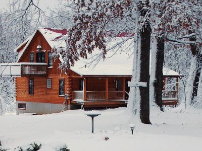 Photo for SECLUDED SPRING CREEK CABIN, Hot Tub, WiFi , Pool table,. Foosball. Wildlife