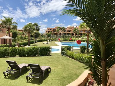 Photo for Casares Beach Golf Apartment with private garden and pool access