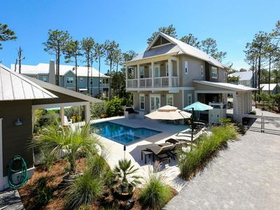 Photo for GOLF CART INCLUDED *PRIVATE POOL* WaterColor 'Birds at the Beach - Gorgeous Decor - 4BR + Bunk Room Sleeps 12