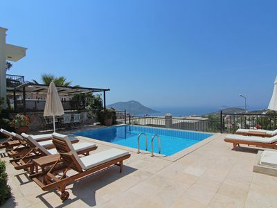 Photo for Luxurious villa with spectacular views from the infinity pool over Kalkan bay