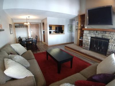 Photo for Large One Bedroom Condo, Walk to Slopes and Activities