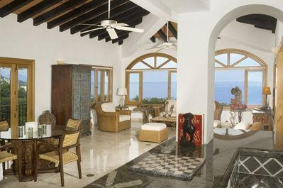 View from kitchen with Los Arcos to the left and the bay in front.
