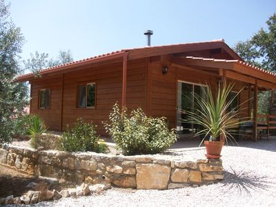 Photo for Beautiful Wooden Lodge Set In Olive Grove With Shared Pool.Close To Amenities