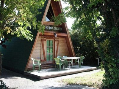 "Photo for Camping Les P'tites Houses in the Prairie - Chalet 3 rooms 4 people (2 adults max) - ""cabin of David Croquet"" -"
